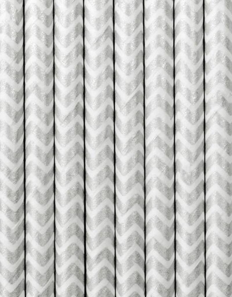 PartyDeco Papieren rietjes zilver chevron | 10 stuks