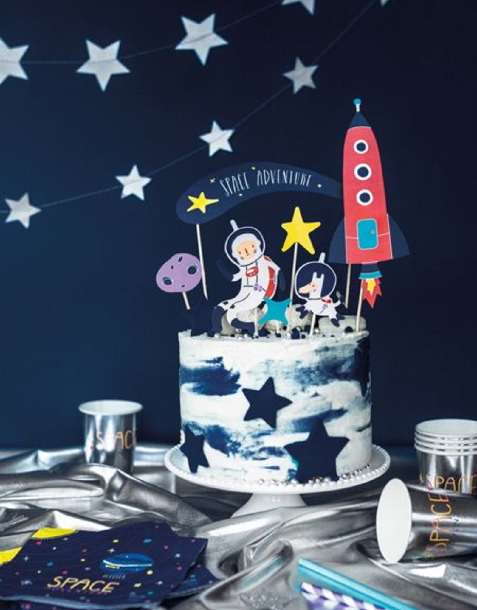 PartyDeco Prikkers space party | 7 stuks