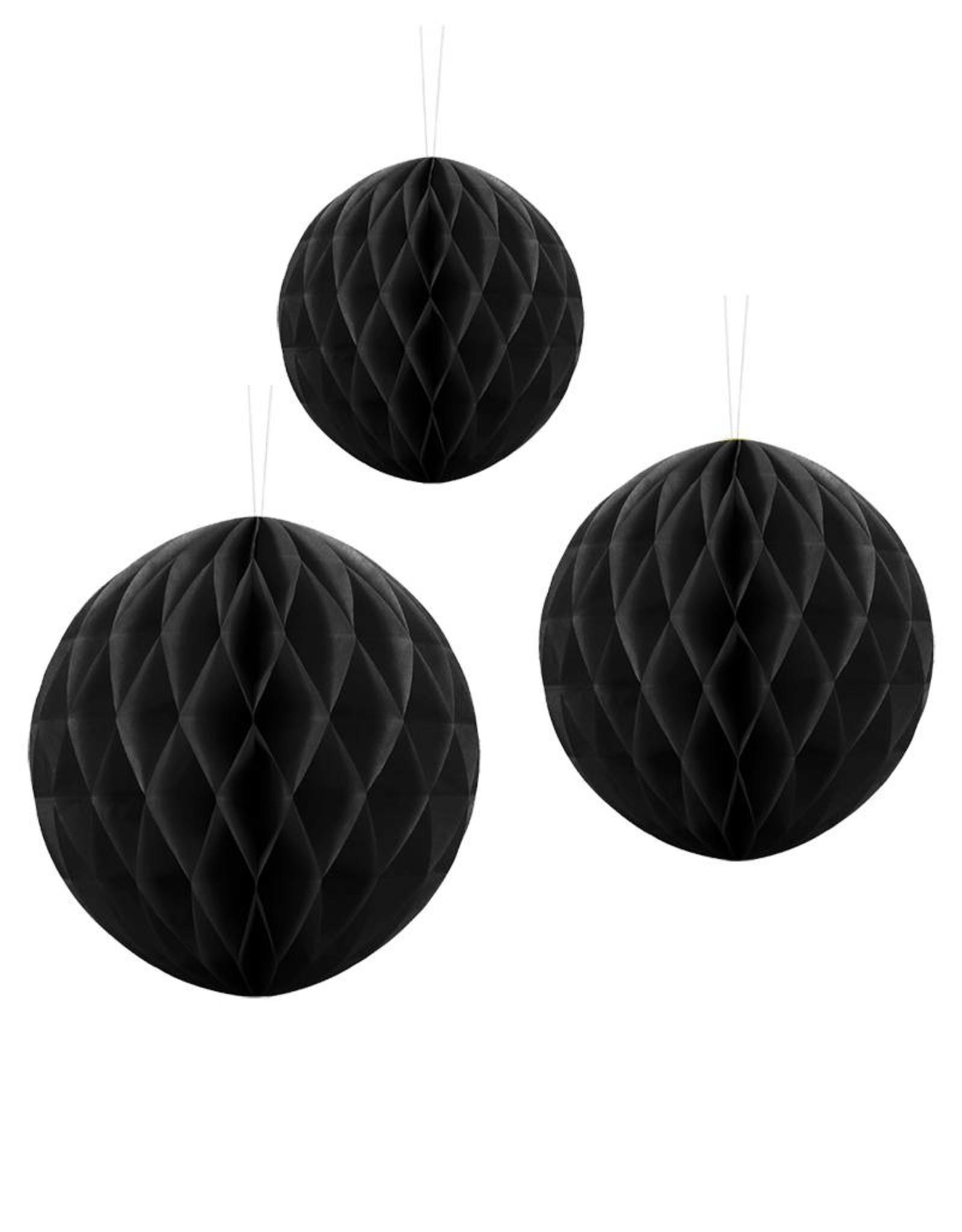 PartyDeco Honeycomb zwart (20 cm)
