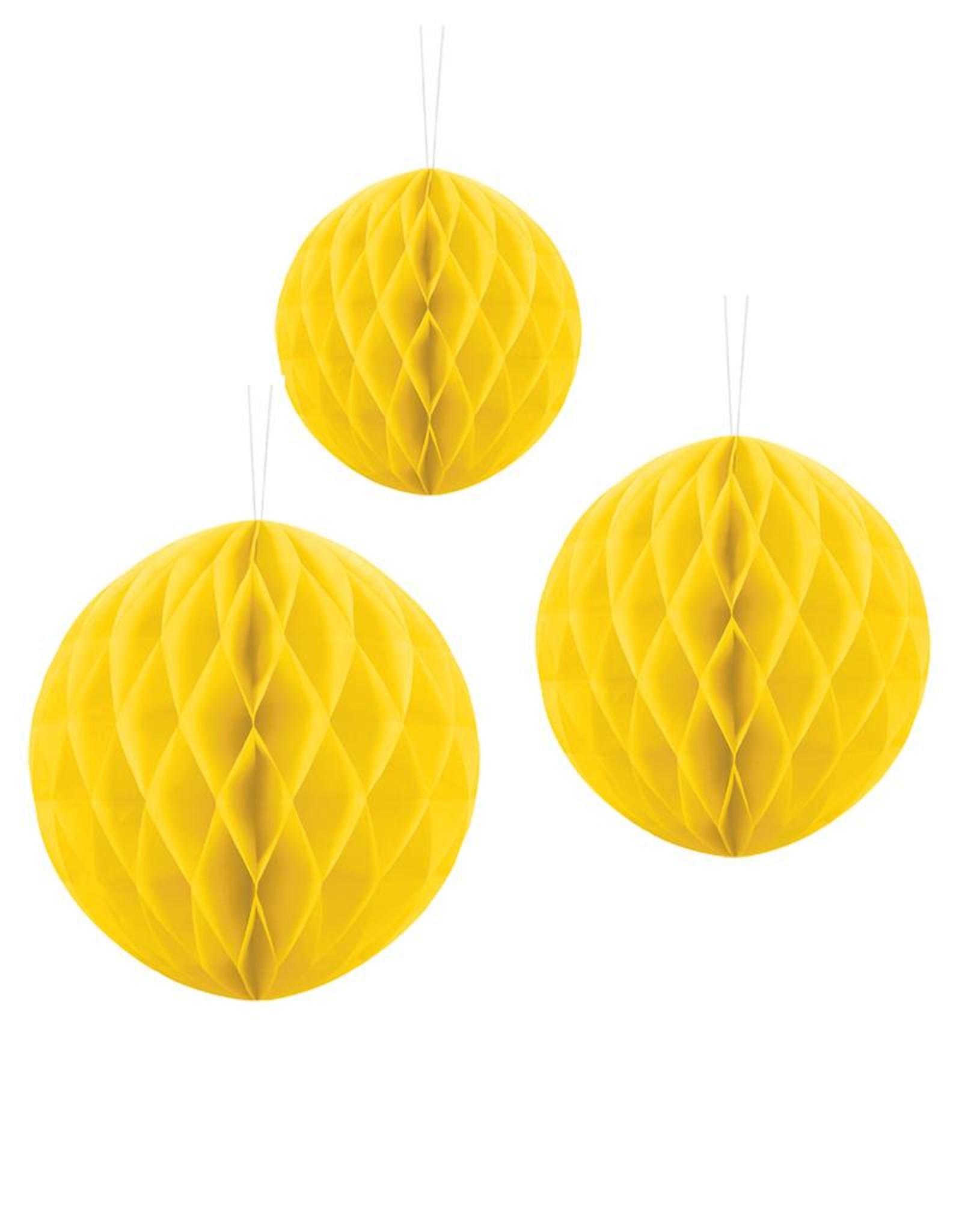 PartyDeco Honeycomb geel (20 cm)