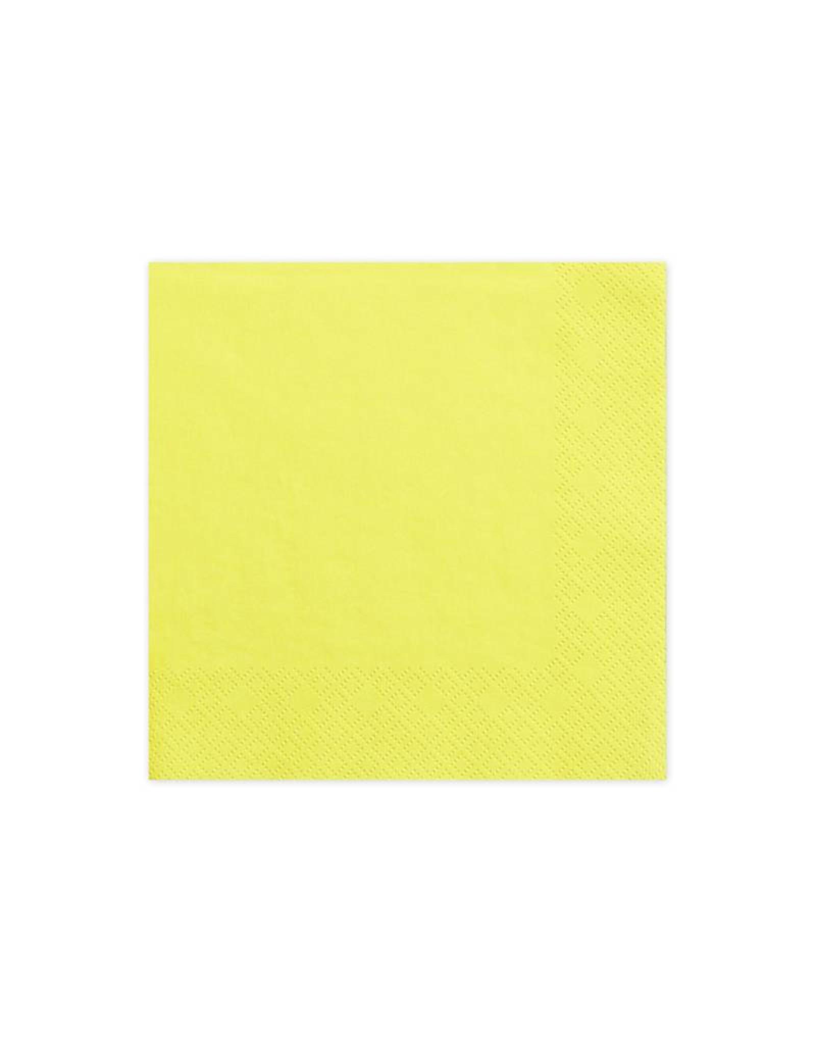 PartyDeco Servetten geel | 20 stuks