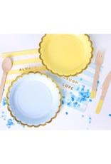 PartyDeco Bestek hout met gele print | 18 stuks