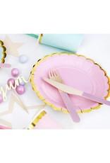 PartyDeco Bestek hout met roze print | 18 stuks