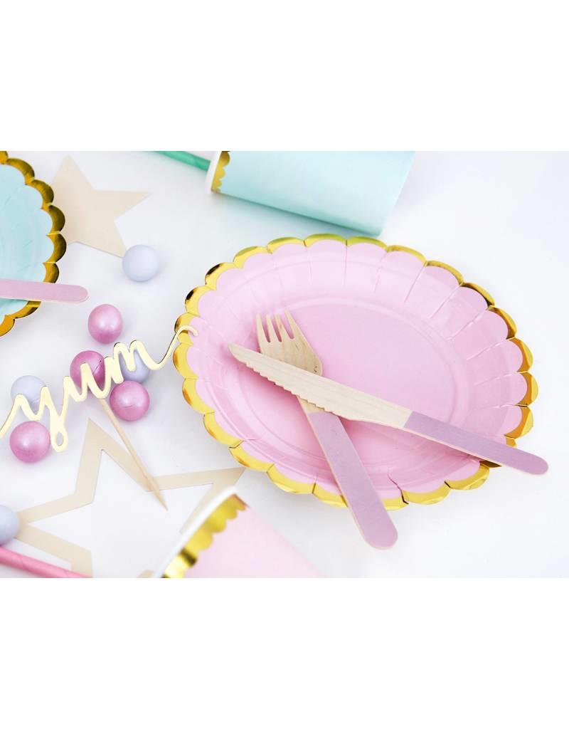 PartyDeco Bestek hout met roze print   18 stuks