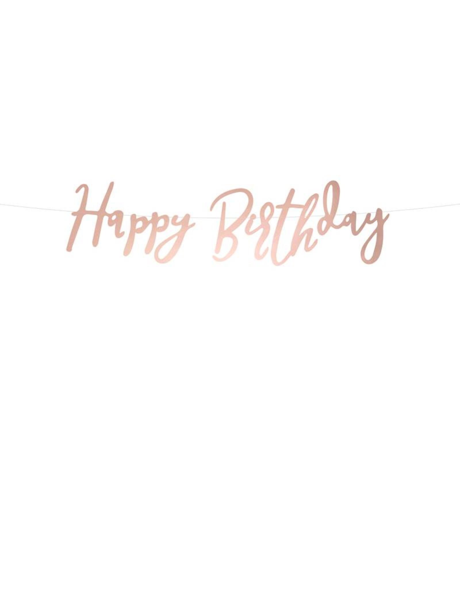 PartyDeco Slinger 'Happy birthday' rosé goud | 62 cm