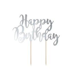 PartyDeco Taarttopper 'Happy birthday' zilver