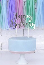 PartyDeco Taarttopper 'Happy birthday' zilver