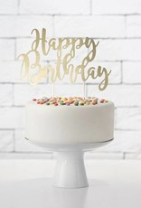 PartyDeco Taarttopper 'Happy birthday' goud