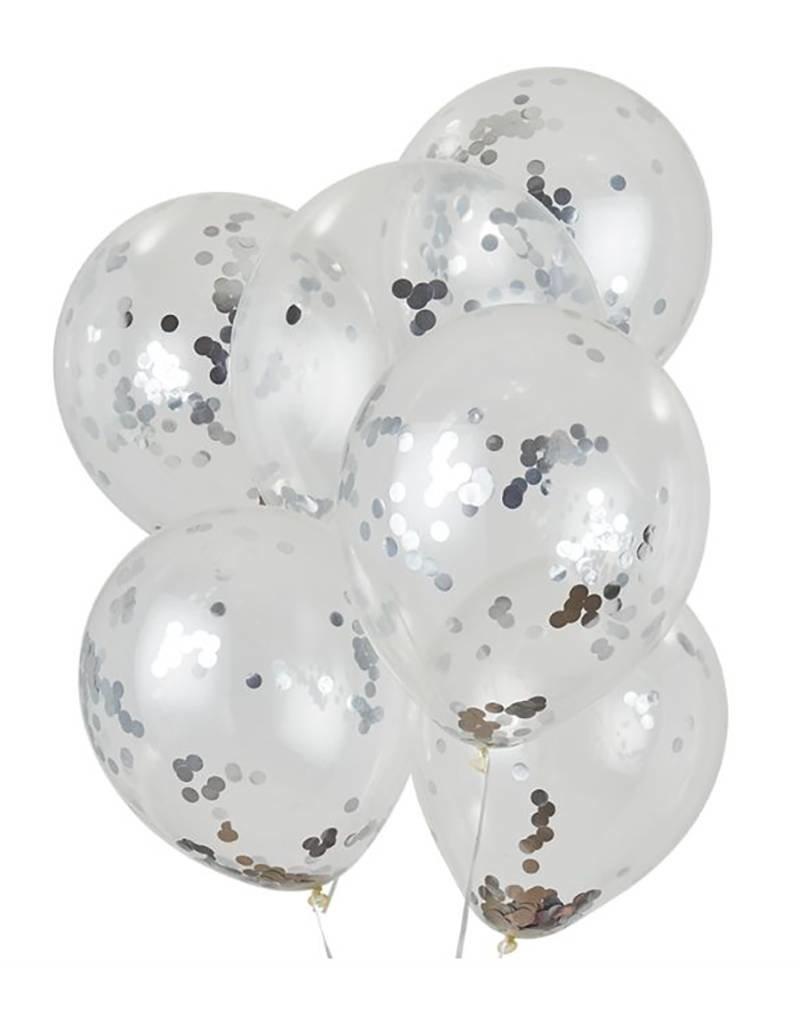House of Gia Confetti ballonnen zilver | 6 stuks