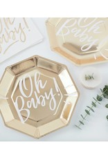 Ginger Ray Babyshower partybox goud 'Oh Baby!' | 12 personen