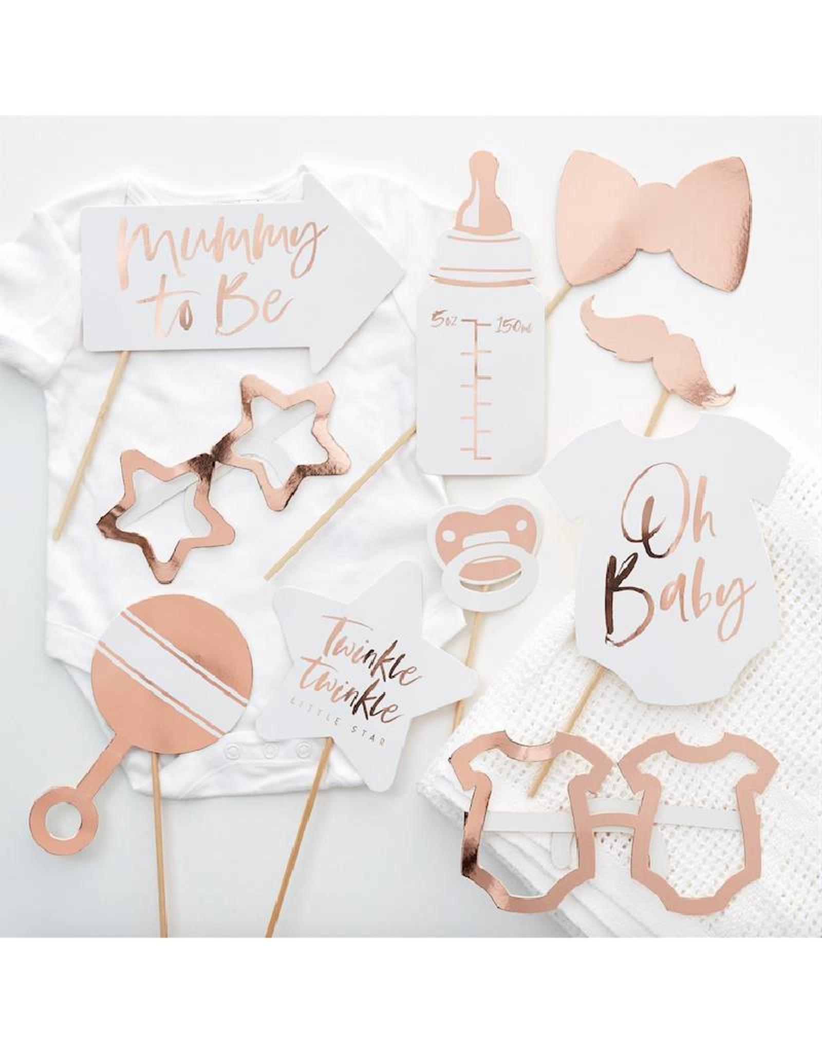 Ginger Ray Party props babyshower rosé goud | 10 stuks