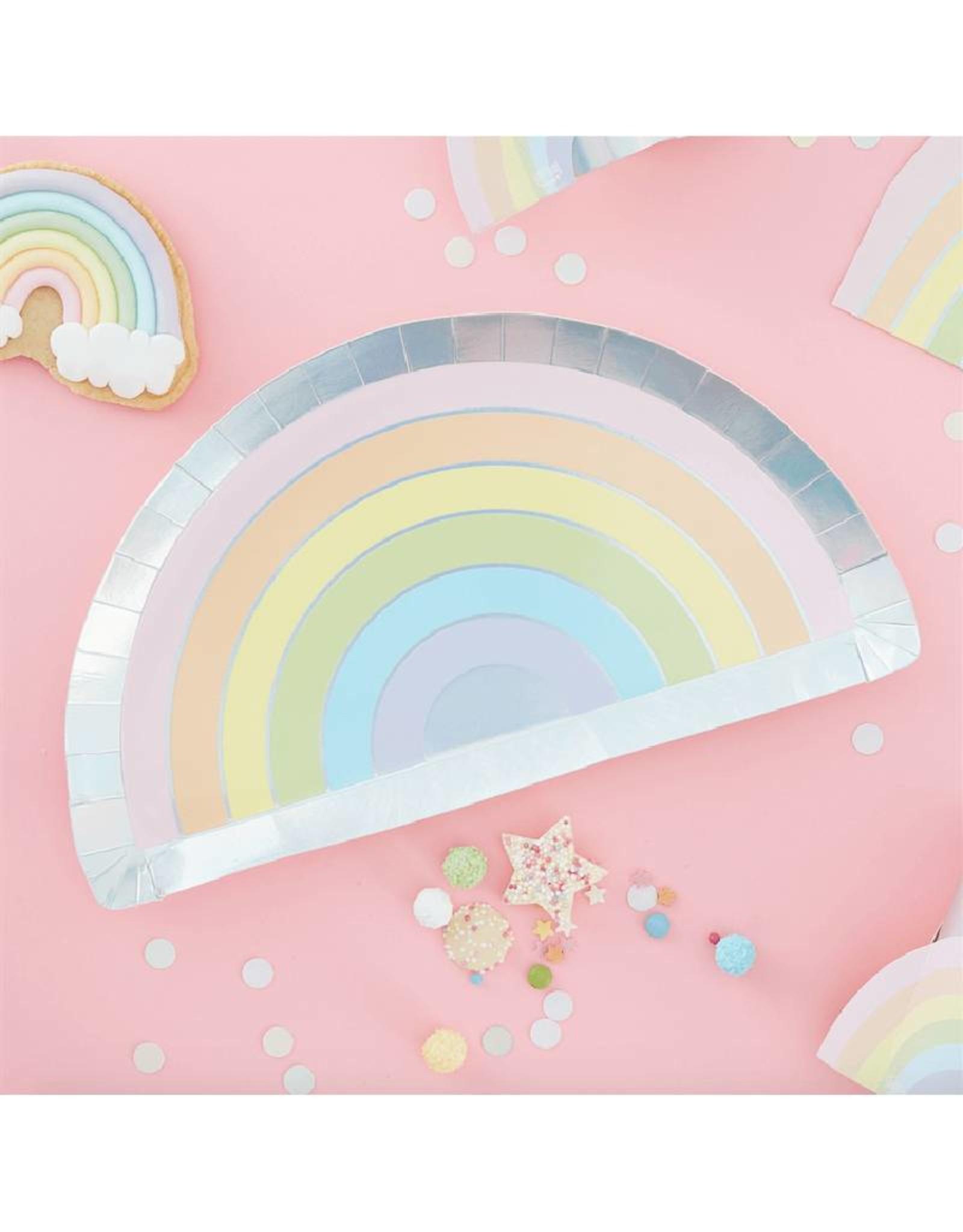 Ginger Ray Papieren bordjes regenboog | 8 stuks