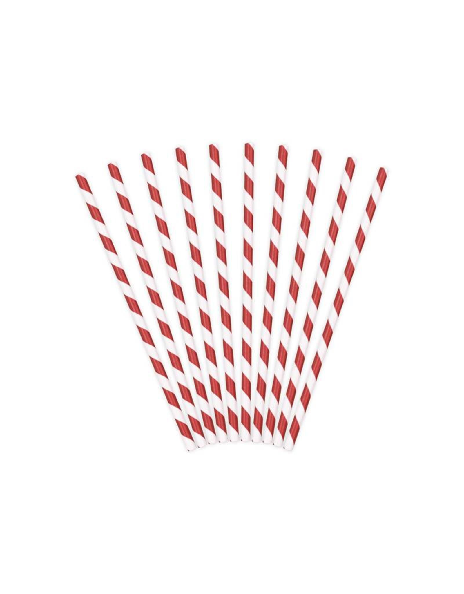 PartyDeco Papieren rietjes rood gestreept | 10 stuks