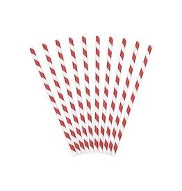 PartyDeco Papieren rietjes rood gestreept | 10st
