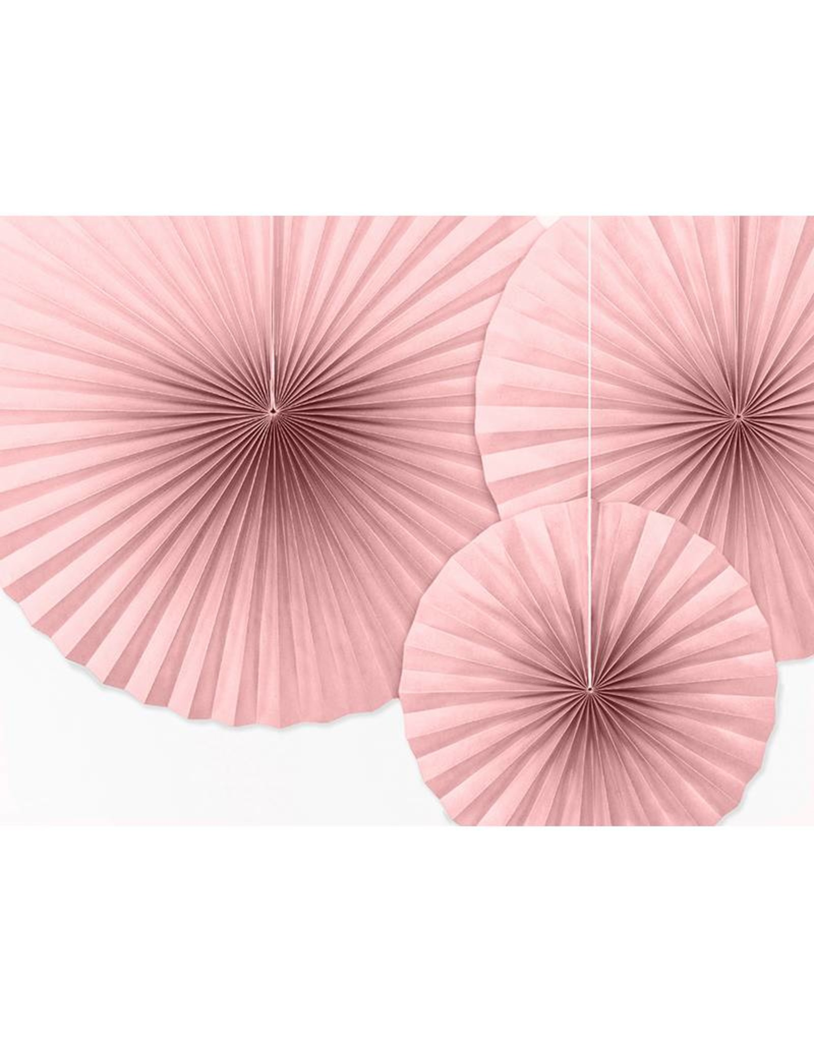 PartyDeco Papieren waaiers dusty rose | 3 stuks