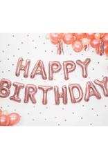 PartyDeco Folie ballon rosé goud 'Happy birthday' | 3,4 meter