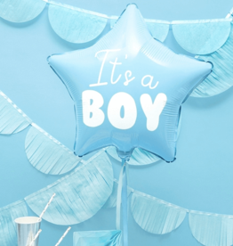 PartyDeco Folie ballon blauwe ster 'It's a boy' | 48 cm
