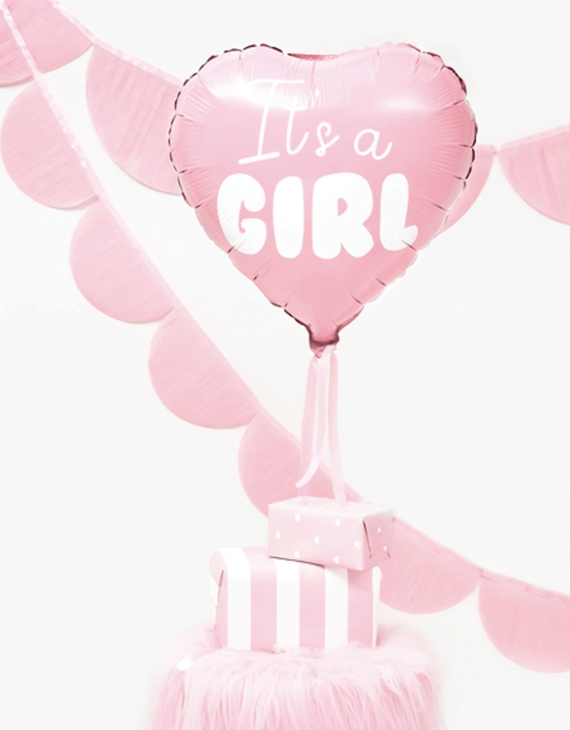 PartyDeco Folie ballon roze hart 'It's a girl'   48 cm