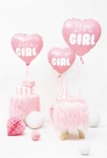 PartyDeco Folie ballon roze hart 'It's a girl' | 48 cm