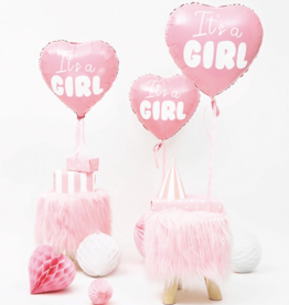 PartyDeco Folie ballon roze hart 'It's a girl' | 48 cm