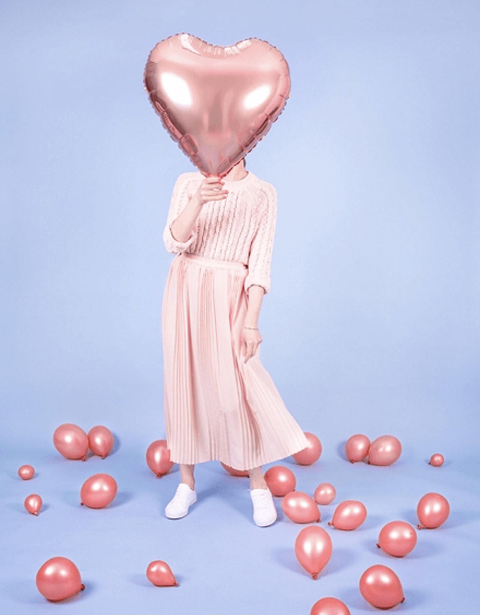 PartyDeco Folie ballon hart rosé goud | 61 cm