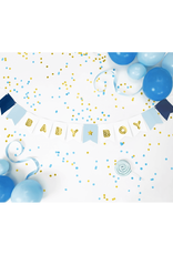 PartyDeco Slinger blauw & goud 'Baby boy' | 1,75 meter