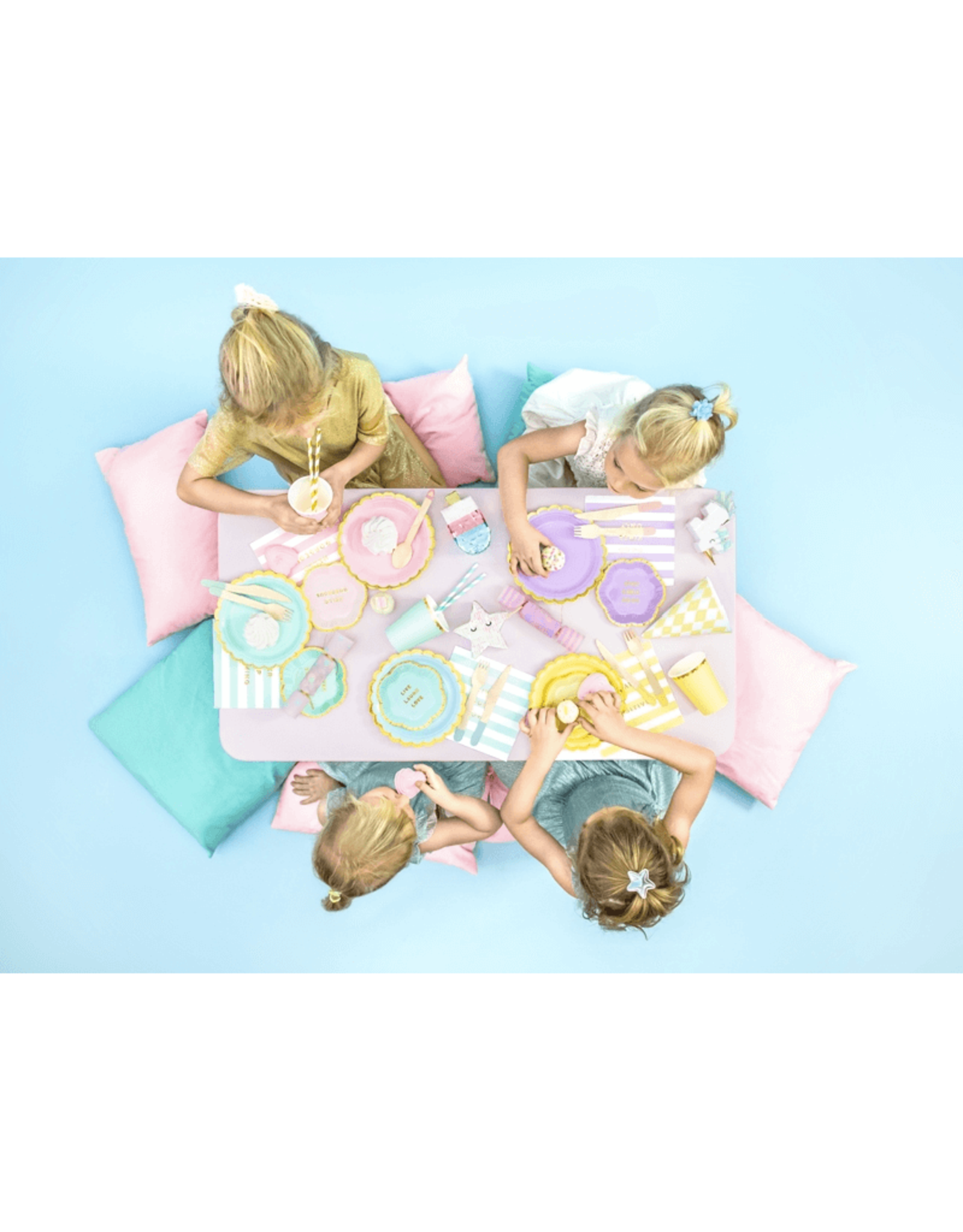 PartyDeco Papieren bordjes mint met gouden rand - 6 stuk