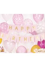 PartyDeco Roze slinger 'Happy birthday'