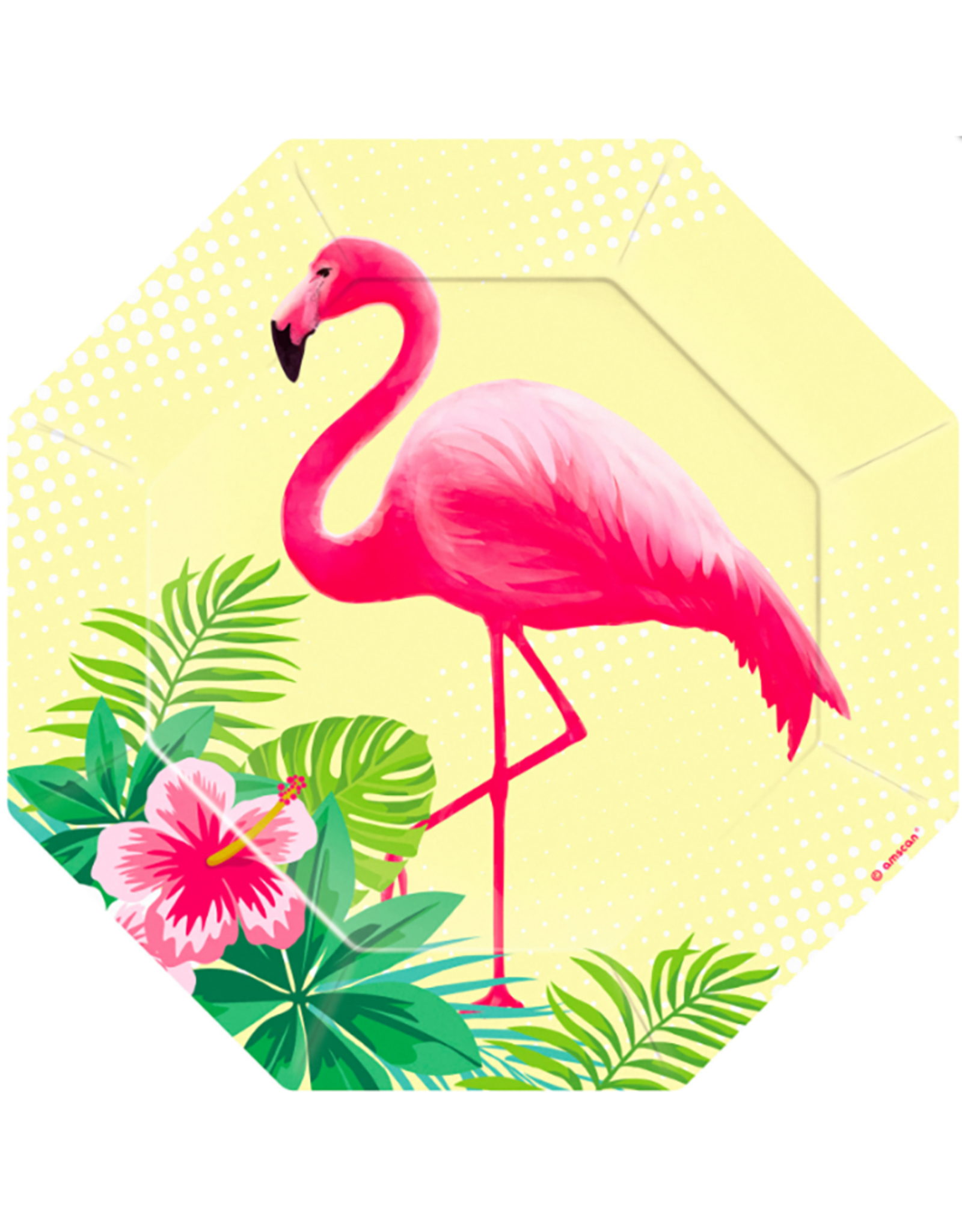 Amscan Papieren bordjes flamingo | 6 stuks