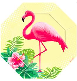 Amscan Papieren bordjes flamingo | 6st