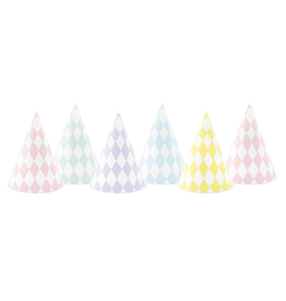 PartyDeco Feesthoedjes pastel diamant | 6st