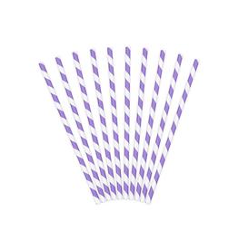PartyDeco Papieren rietjes lavendel gestreept | 10st