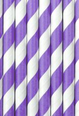 PartyDeco Papieren rietjes lavendel gestreept | 10 stuks