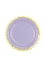 PartyDeco Papieren bordjes lavendel & goud | 6 stuks