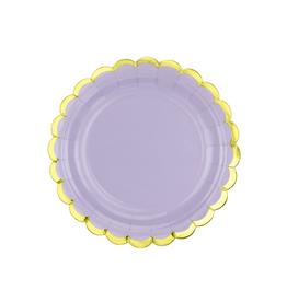 PartyDeco Papieren bordjes lavendel & goud | 6st