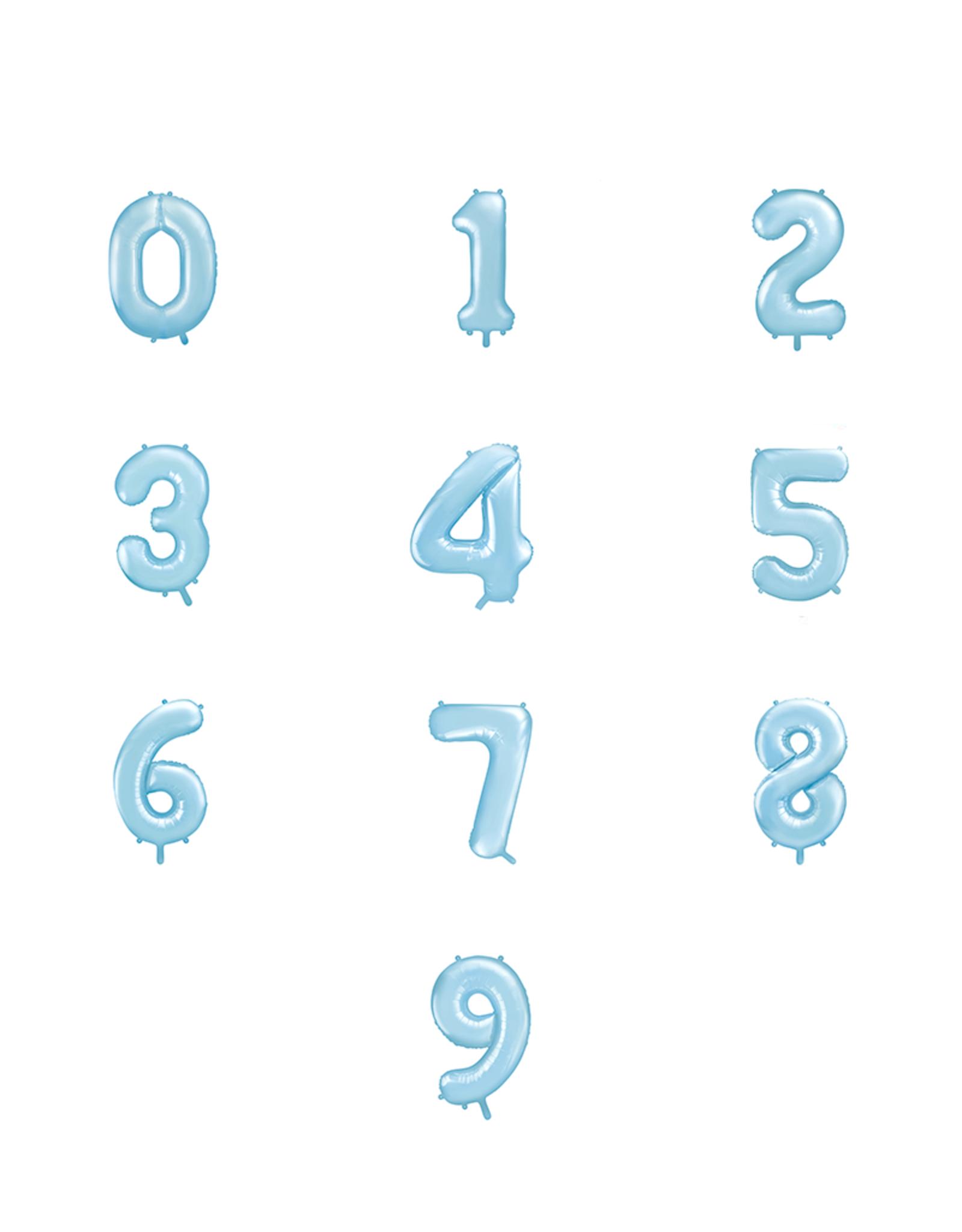 PartyDeco Folie ballonnen lichtblauw cijfers 0 t/m 9 (86 cm)