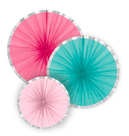 Amscan Papieren waaiers roze & turquoise | 3st