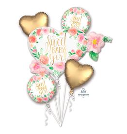 Amscan Folie ballon boeket 'Sweet baby girl' | 5st