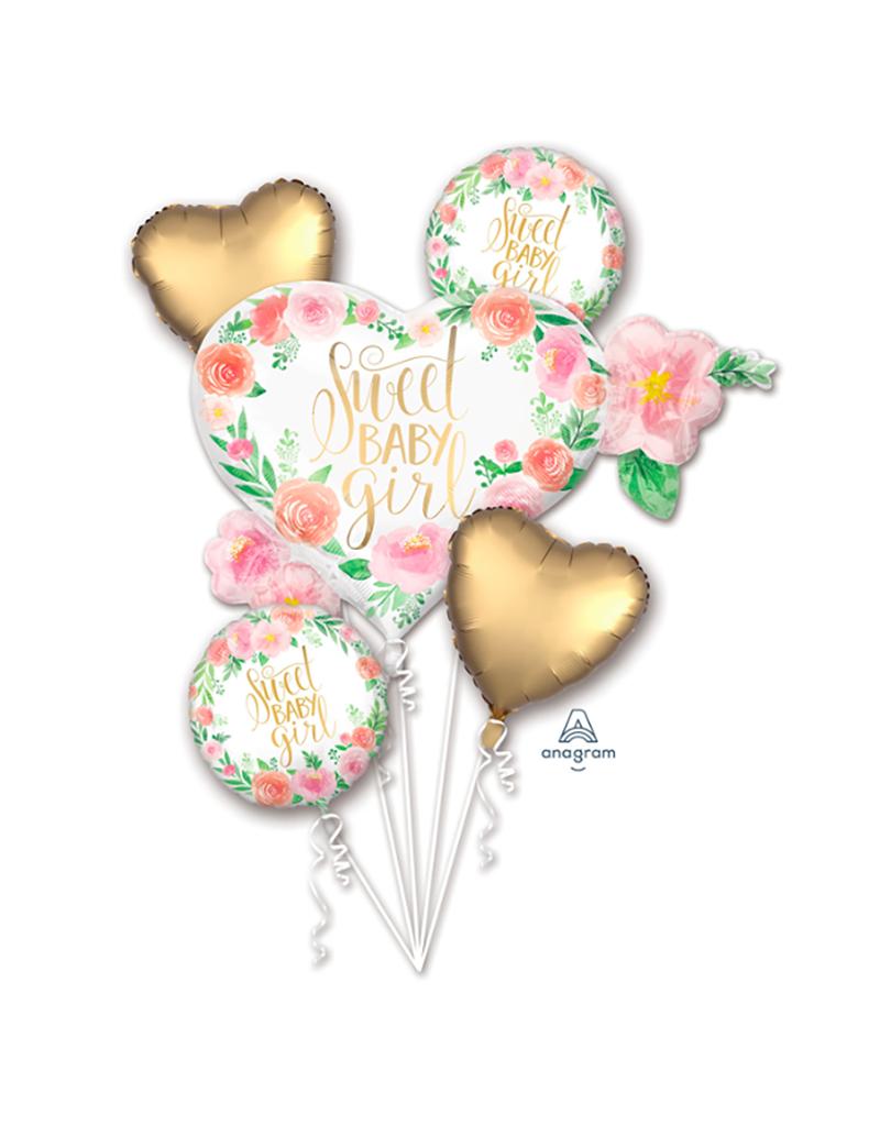 Amscan Folie ballon boeket 'Sweet baby girl' | 5 stuks