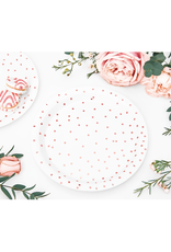 PartyDeco Papieren bordjes rosé gouden stippen | 6 stuks