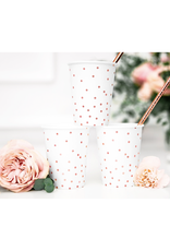 PartyDeco Papieren bekertjes rosé gouden stippen | 6st