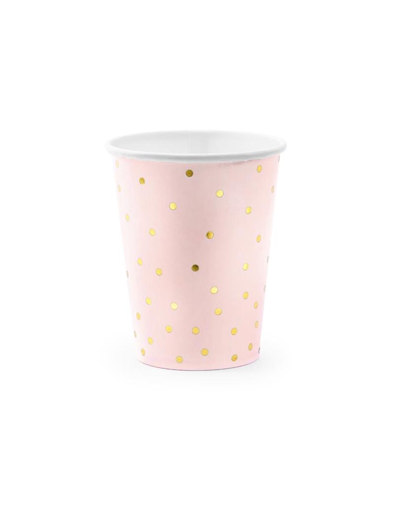 PartyDeco Papieren bekertjes roze & gouden glitters | 6st