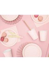 PartyDeco Papieren bordjes roze & gouden glitter | 6st