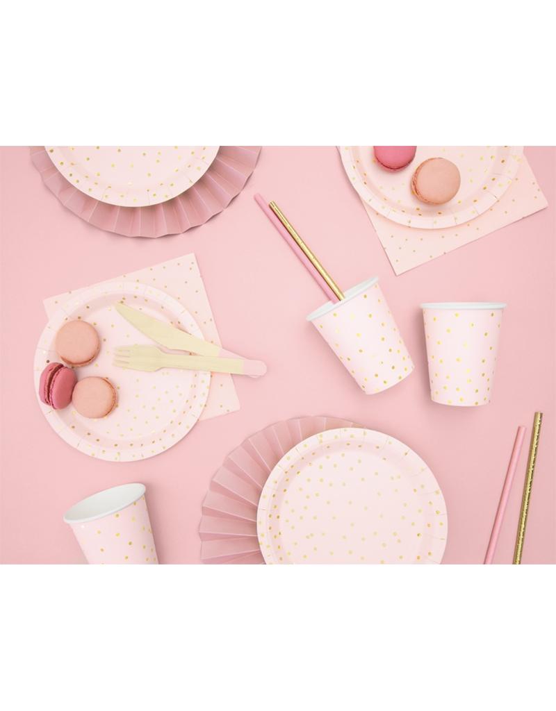 PartyDeco Papieren bordjes roze & gouden glitter   6st