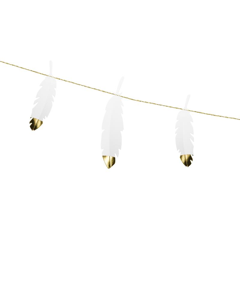 PartyDeco Slinger papieren veren | 1,6 meter