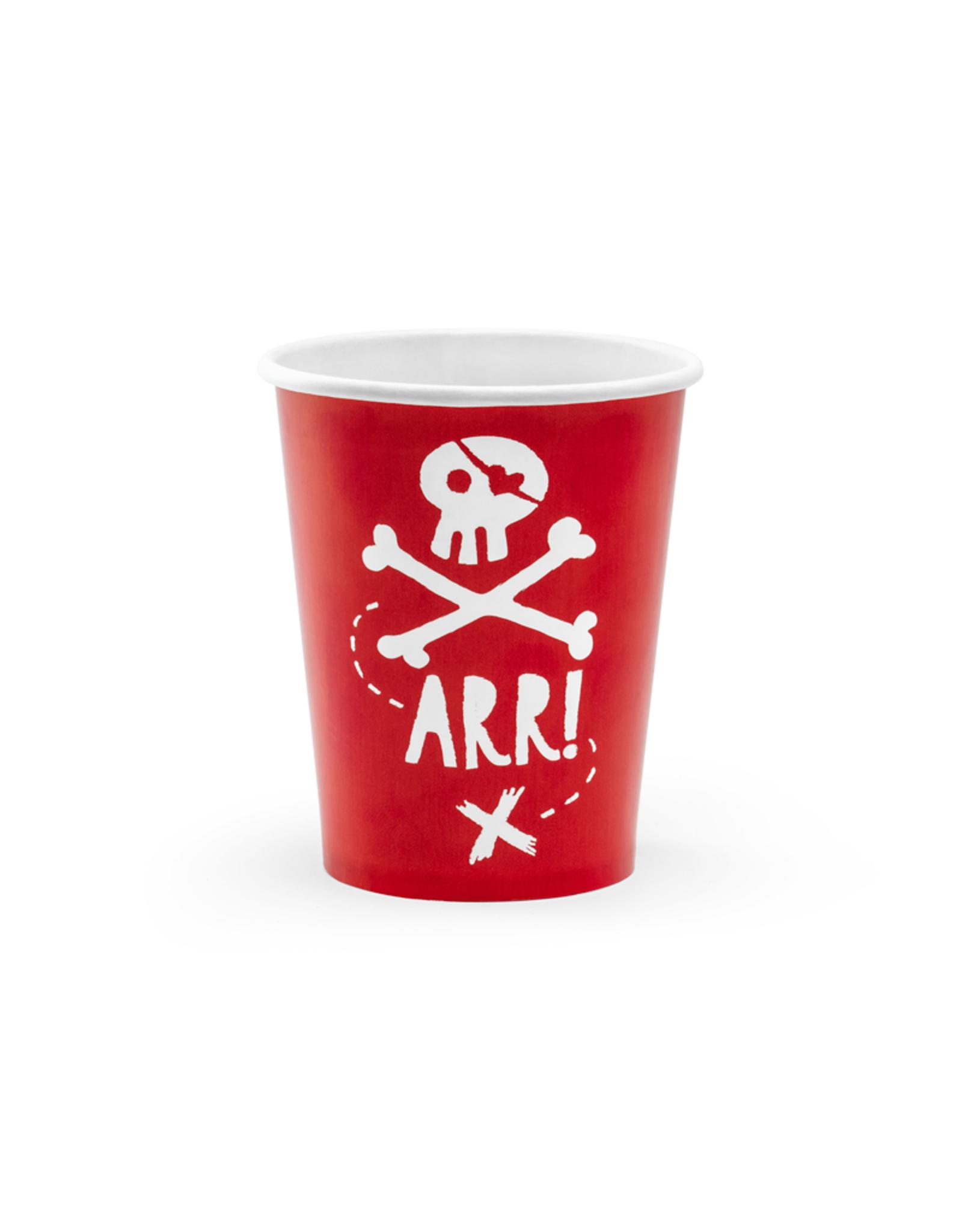 PartyDeco Papieren bekertjes piraten | 6 stuks