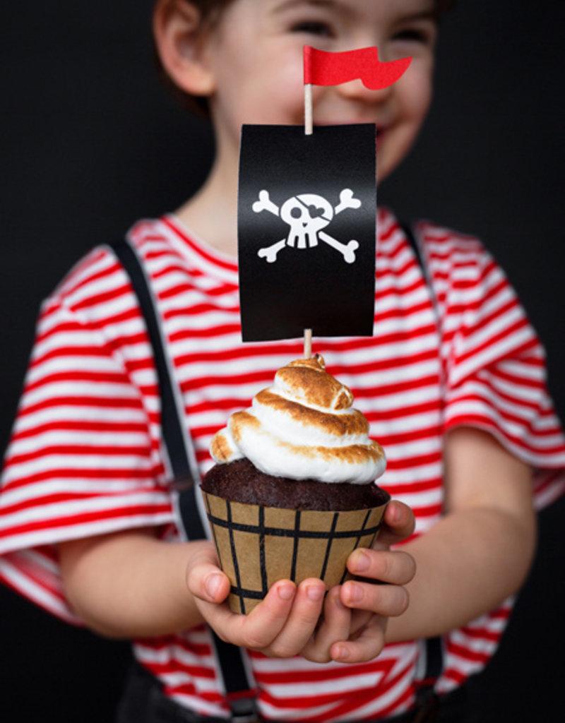 PartyDeco Cupcake kit piraten   6 stuks