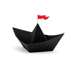 PartyDeco Papieren bootjes zwart | 6st
