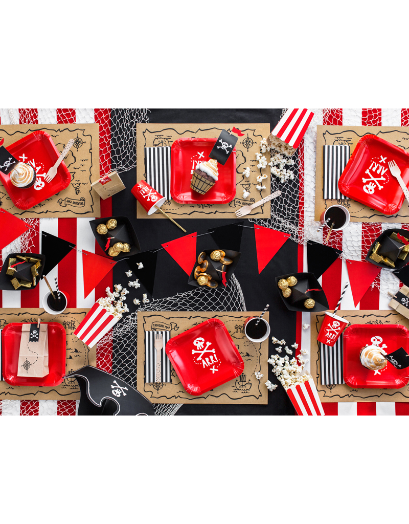 PartyDeco Papieren bootjes zwart | 6 stuks