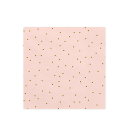 PartyDeco Servetten roze & gouden glitter | 20st